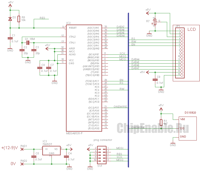 Подключение DS18B20 к AVR