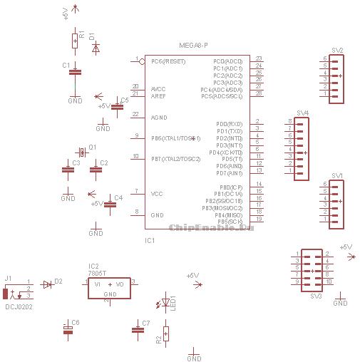 Atmega8 отладочная плата схема