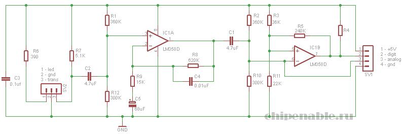 схема датчика пульса