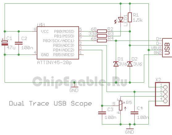 usb осциллограф на tiny45 -